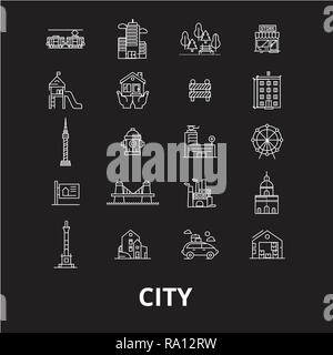 City editable line icons vector set on black background. City white outline illustrations, signs, symbols - Stock Photo
