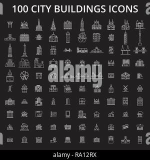 City buildings editable line icons vector set on black background. City buildings white outline illustrations, signs, symbols - Stock Photo