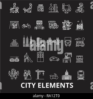 City elements editable line icons vector set on black background. City elements white outline illustrations, signs, symbols - Stock Photo