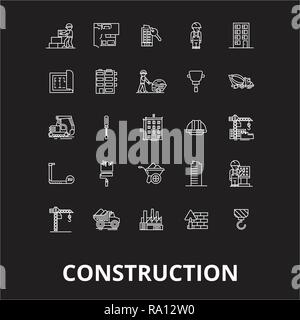 Construction editable line icons vector set on black background. Construction white outline illustrations, signs, symbols - Stock Photo
