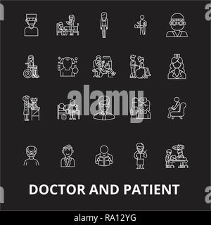 Doctor and patient editable line icons vector set on black background. Doctor and patient white outline illustrations, signs, symbols - Stock Photo