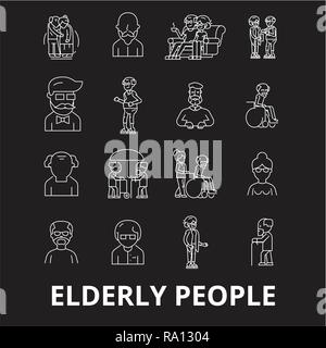 Elderly people editable line icons vector set on black background. Elderly people white outline illustrations, signs, symbols - Stock Photo