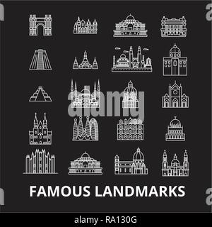 Famous landmarks editable line icons vector set on black background. Famous landmarks white outline illustrations, signs, symbols - Stock Photo