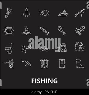 Fishing editable line icons vector set on black background. Fishing white outline illustrations, signs, symbols - Stock Photo