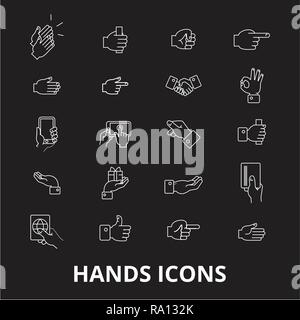Hands editable line icons vector set on black background. Hands white outline illustrations, signs, symbols - Stock Photo