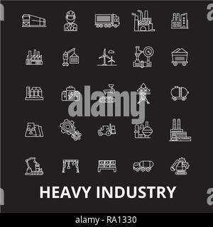 Heavy industry editable line icons vector set on black background. Heavy industry white outline illustrations, signs, symbols - Stock Photo