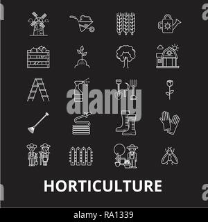 Horticulture editable line icons vector set on black background. Horticulture white outline illustrations, signs, symbols - Stock Photo