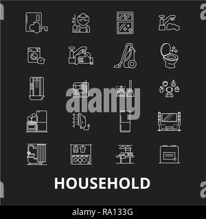 Household editable line icons vector set on black background. Household white outline illustrations, signs, symbols - Stock Photo