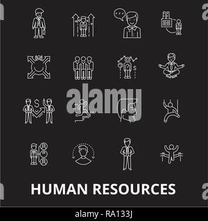 Human resources editable line icons vector set on black background. Human resources white outline illustrations, signs, symbols - Stock Photo