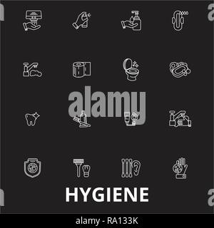 Hygiene editable line icons vector set on black background. Hygiene white outline illustrations, signs, symbols - Stock Photo