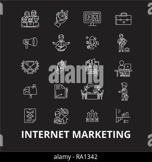 Internet marketing editable line icons vector set on black background. Internet marketing white outline illustrations, signs, symbols - Stock Photo