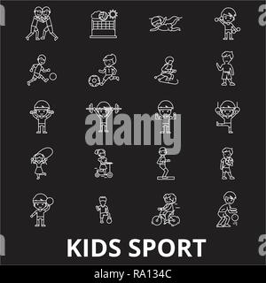 Kids sport editable line icons vector set on black background. Kids sport white outline illustrations, signs, symbols - Stock Photo