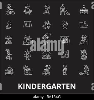 Kindergarten editable line icons vector set on black background. Kindergarten white outline illustrations, signs, symbols - Stock Photo