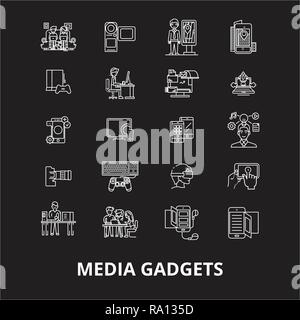 Media gadgets editable line icons vector set on black background. Media gadgets white outline illustrations, signs, symbols - Stock Photo