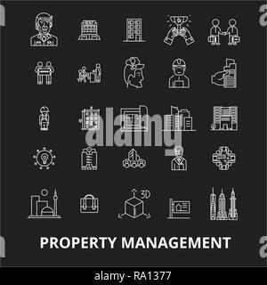 Property management editable line icons vector set on black background. Property management white outline illustrations, signs, symbols - Stock Photo