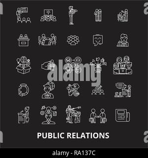 Public relations editable line icons vector set on black background. Public relations white outline illustrations, signs, symbols
