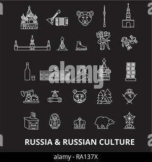 Russia editable line icons vector set on black background. Russia white outline illustrations, signs, symbols - Stock Photo