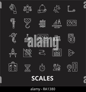 Scales editable line icons vector set on black background. Scales white outline illustrations, signs, symbols