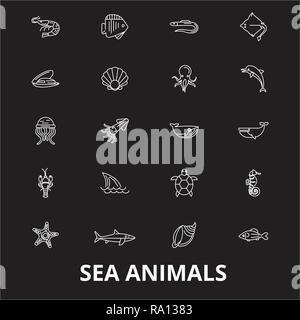Sea animals editable line icons vector set on black background. Sea animals white outline illustrations, signs, symbols - Stock Photo