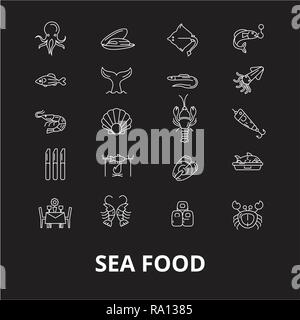 Sea food restaurant editable line icons vector set on black background. Sea food restaurant white outline illustrations, signs, symbols - Stock Photo