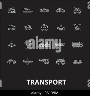 Transport editable line icons vector set on black background. Transport white outline illustrations, signs, symbols - Stock Photo