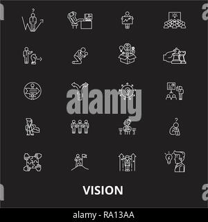 Vision editable line icons vector set on black background. Vision white outline illustrations, signs, symbols - Stock Photo
