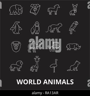 World animals editable line icons vector set on black background. World animals white outline illustrations, signs, symbols - Stock Photo