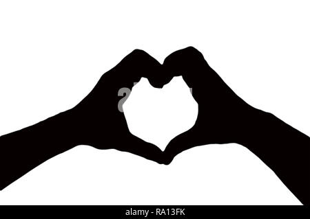 silhouette of two hands making a heart shape together isolated on a white background, valentines day concept - Stock Photo