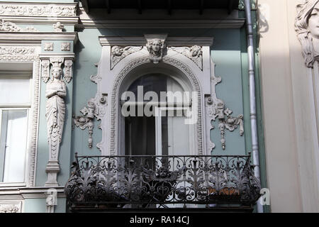 Art nouveau style building on Aghmashenebi Avenue in Tbilisi - Stock Photo
