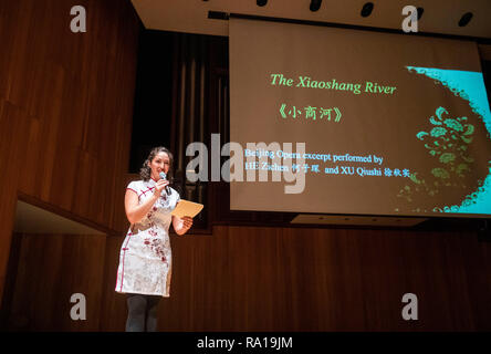 New York, USA. 29th December 2018. Carrie Feyerabend hosts a public show at the State University of New York at Buffalo (UB) in Buffalo, New York State, the United States, on Nov. 16, 2018. Carries Feyerabend is one of the U.S. and Chinese artists from the Confucius Institute of Chinese Opera (CICO) at Binghamton University (BU) who were featured in the incredible show of the 'Amazing Chinese Opera' in mid-November as the closing event of the university's International Education Week, an annual initiative to celebrate and promote international education and exchange. Credit: Xinhua/Alamy Live - Stock Photo