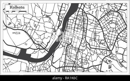 Kolkata India City Map in Retro Style. Outline Map. Vector Illustration. - Stock Photo