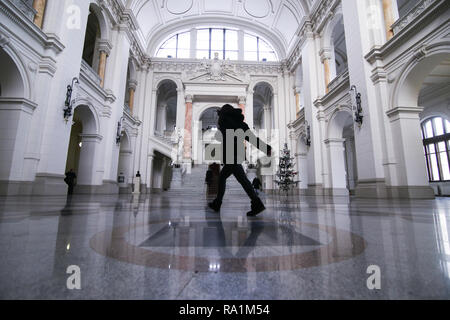 BUCHAREST, ROMANIA - December 15, 2018: Interior of Romanian Court of Appeal palace, in Bucharest. - Stock Photo