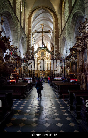 Corpus Christi Church interior in city of Krakow, Poland, Gothic basilica with Baroque ornamentation - Stock Photo