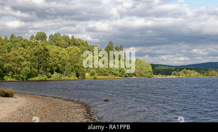 Loch Rannoch, west end, view east along north bank, Perth & Kinross, Scotland - Stock Photo