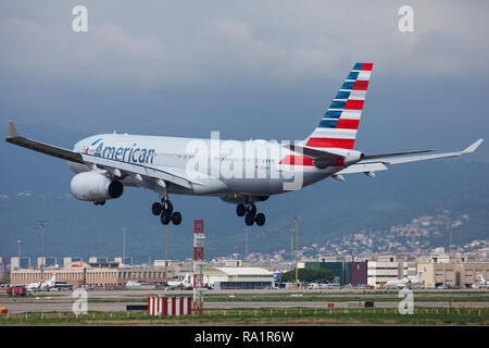 American Airlines Airbus A330 200 Touches Down On Runway