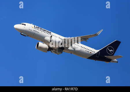 Barcelona, Spain - September 16, 2018: Lufthansa Airbus A320neo taking off from El Prat Airport in Barcelona, Spain. - Stock Photo