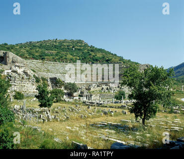 Turkey. Ephesus. Ancient Greek city on the coast of Ionia. The Great Theatre. It was built in the Hellenistic period, 3rd century BC. Remodeled during Roman period. View of the seating section 'cavea'.  Anatolia. - Stock Photo