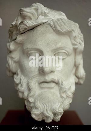 Roman era. Head of Zeus. Flavian period. 69-96 AD. Ephesus Archaeological Museum. Selcuk. Turkey. Asia Minor. - Stock Photo