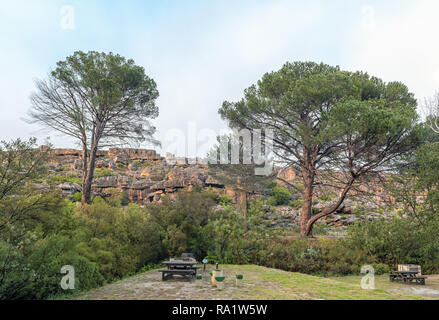 CEDERBERG, SOUTH AFRICA, AUGUST 28, 2018: The Kliphuis Campsite on the Pakhuis Pass in the Cederberg Mountains of the Western Cape Province. Camping s - Stock Photo