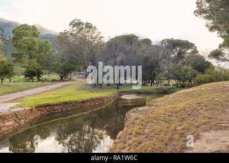 CEDERBERG, SOUTH AFRICA, AUGUST 28, 2018: Early morning view of the Kliphuis Campsite on the Pakhuis Pass in the Cederberg Mountains of the Western Ca - Stock Photo