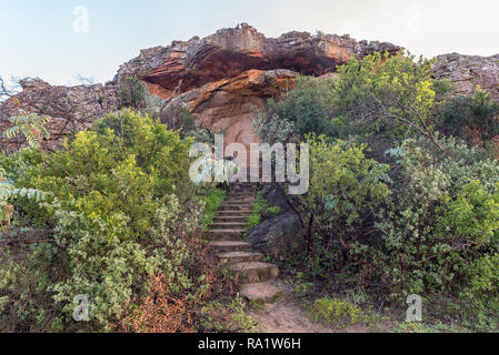 CEDERBERG, SOUTH AFRICA, AUGUST 28, 2018: Grave of Dr. C. Louis Leipoldt, an Afrikaans poet, in the Pakhuis Pass in the Cederberg Mountains of the Wes - Stock Photo
