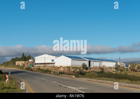 CLANWILLIAM, SOUTH AFRICA, AUGUST 28, 2018: Warehouses at the entrance to Clanwilliam in the Western Cape Province - Stock Photo