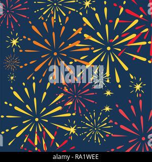 Abstract golden and red fireworks explosions. Flat vector illustration on night sky background. Place for text. - Stock Photo
