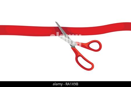 Red scissors cut red tape. Opening ceremony. Flat vector illustration isolated on white background. - Stock Photo