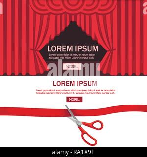 Red scissors cut red tape. Opening ceremony theater stage with red curtain. Flat vector illustration on white background. - Stock Photo