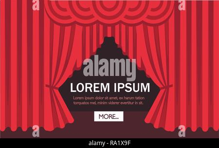 Cinema or theater scene with a red curtain. Flat vector illustration. Web site page and mobile app design. Place for text. - Stock Photo
