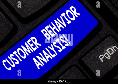 Text sign showing Customer Behavior Analysis. Conceptual photo buying behaviour of consumers who use goods Keyboard key Intention to create computer m - Stock Photo