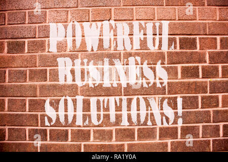 Text sign showing Powerful Business Solutions. Conceptual photo ideas used to help a company achieve its goals - Stock Photo