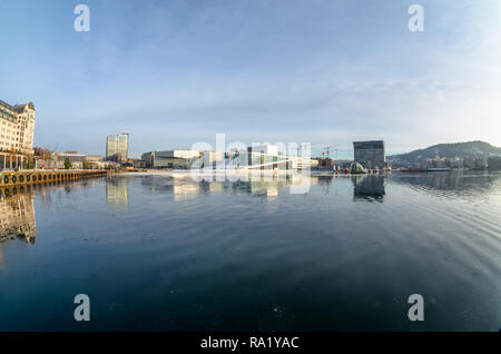 General view of Oslo Opera house in winter sunny afternoon. - Stock Photo