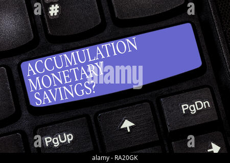 Handwriting text Accumulation Monetary Savingsquestion. Concept meaning Increase in financial assets Keyboard key Intention to create computer message - Stock Photo